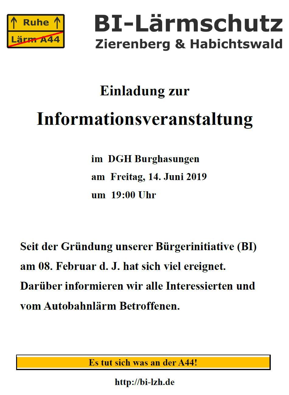 Einladung, BI-Lärmschutz Zierenberg & Habichtswald, bi-lzh.de, 14.06.2019